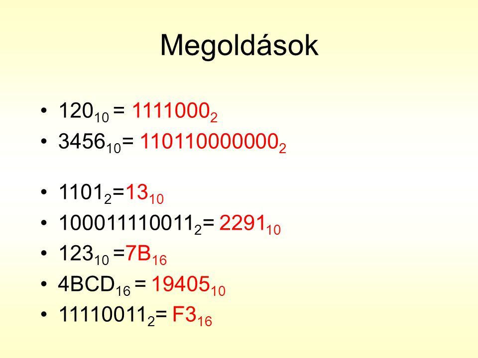 Megoldások 12010 = 11110002. 345610= 1101100000002. 11012=1310. 1000111100112= 229110. 12310 =7B16.