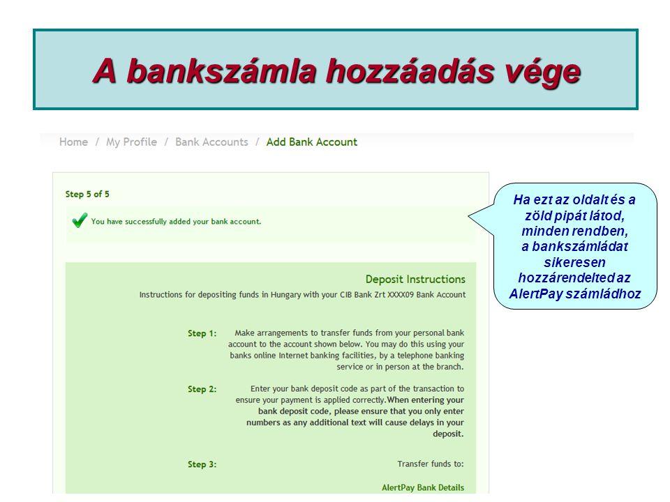 A bankszámla hozzáadás vége