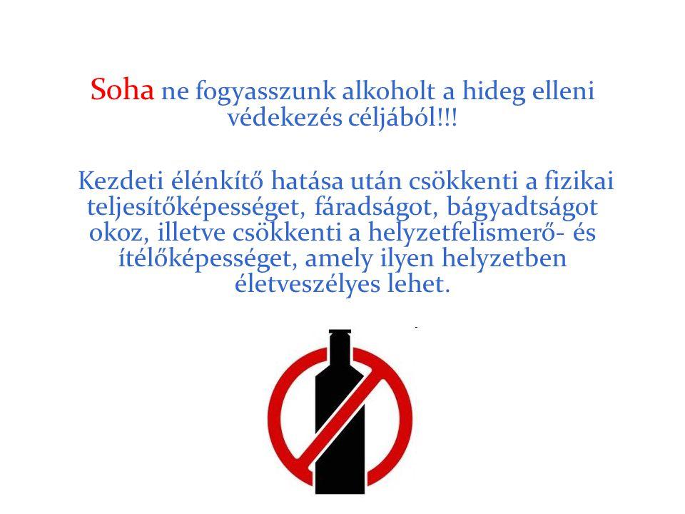 Soha ne fogyasszunk alkoholt a hideg elleni védekezés céljából!!!