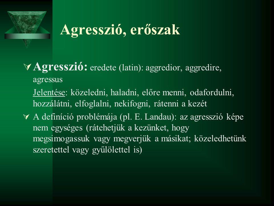 Agresszió, erőszak Agresszió: eredete (latin): aggredior, aggredire, agressus.