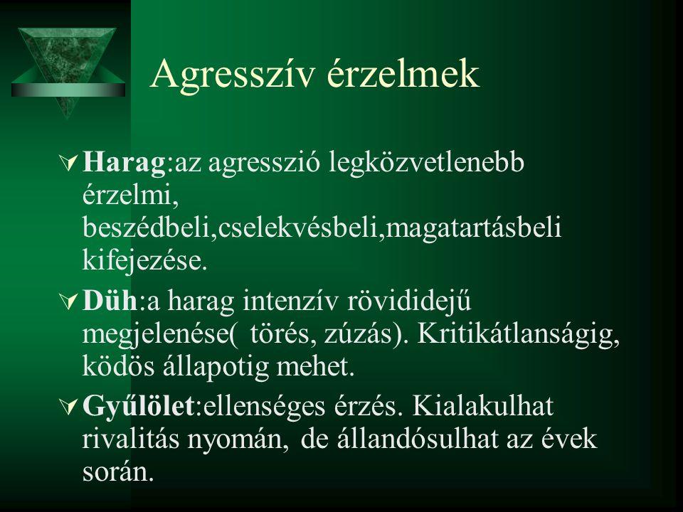 Agresszív érzelmek Harag:az agresszió legközvetlenebb érzelmi, beszédbeli,cselekvésbeli,magatartásbeli kifejezése.