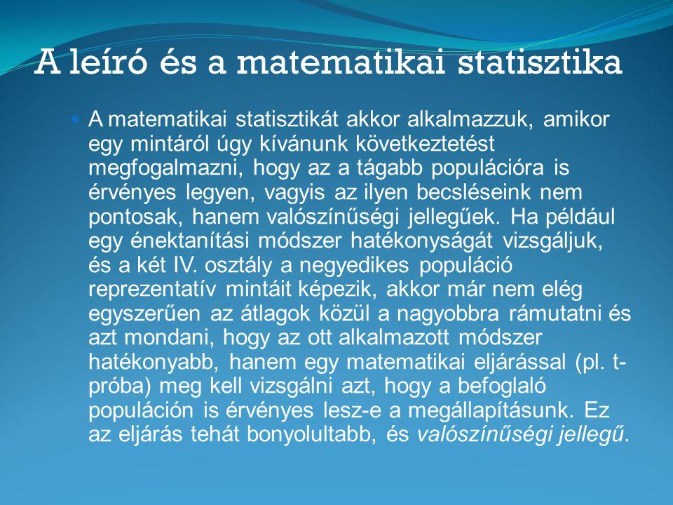A leíró és a matematikai statisztika