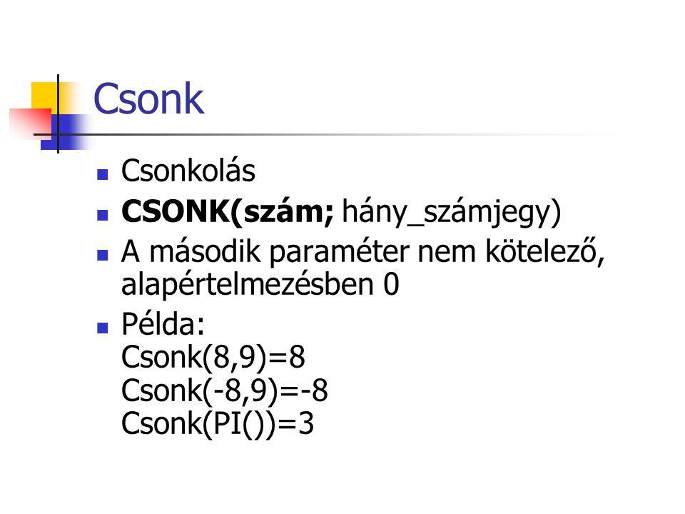 Csonk Csonkolás CSONK(szám; hány_számjegy)