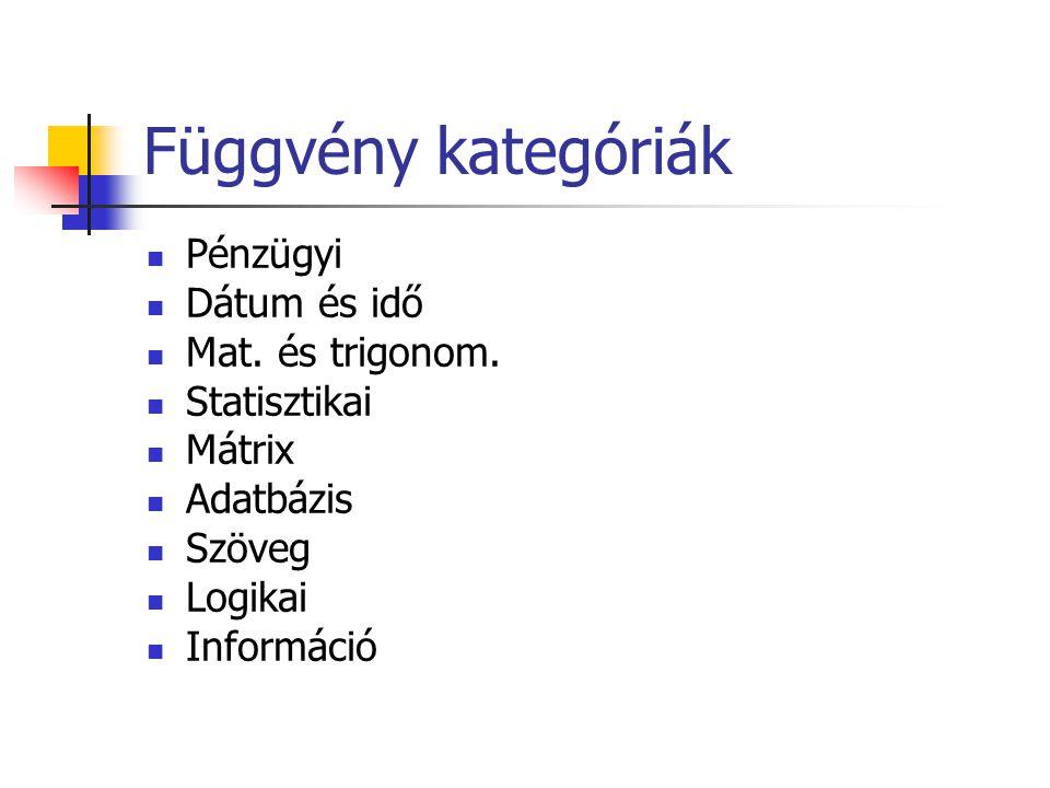 Függvény kategóriák Pénzügyi Dátum és idő Mat. és trigonom.