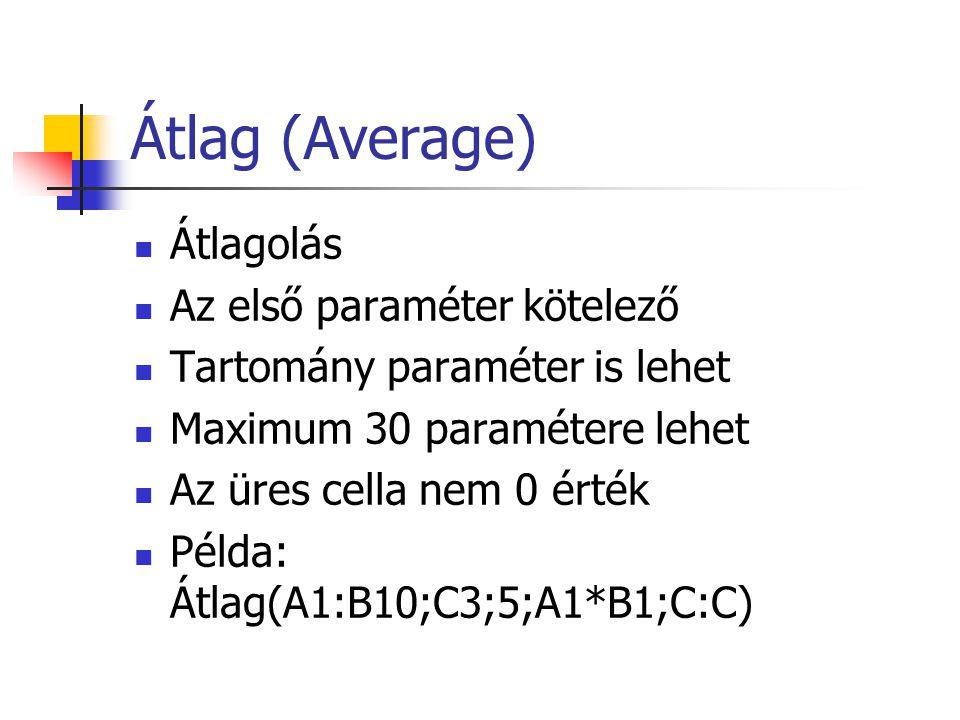Átlag (Average) Átlagolás Az első paraméter kötelező