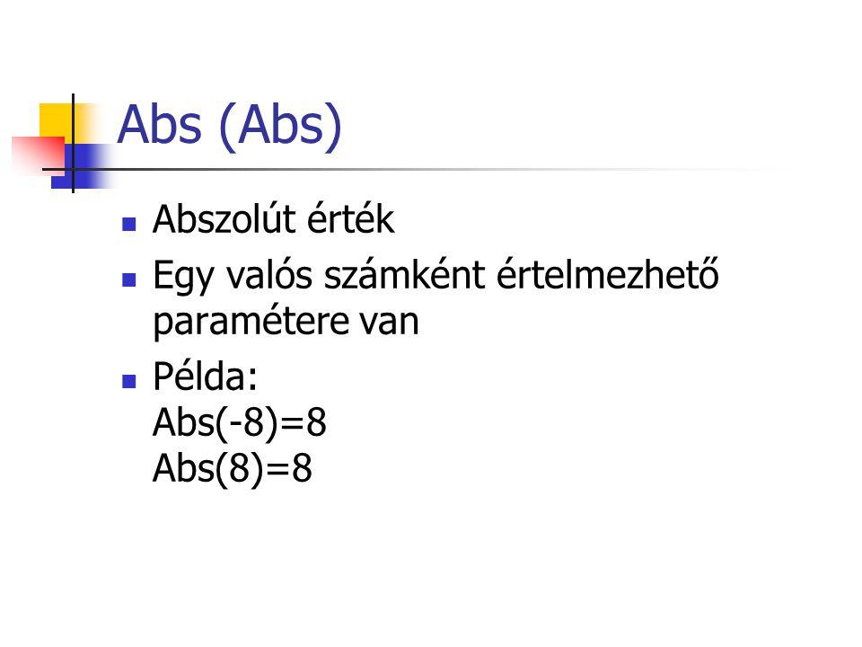 Abs (Abs) Abszolút érték