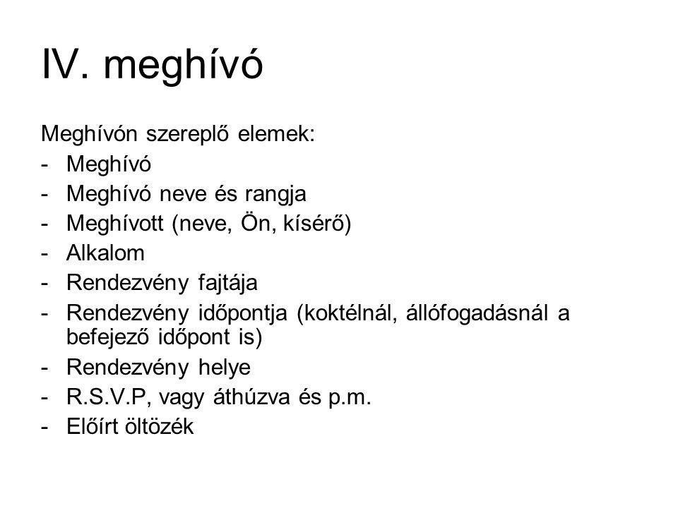 IV. meghívó Meghívón szereplő elemek: Meghívó Meghívó neve és rangja