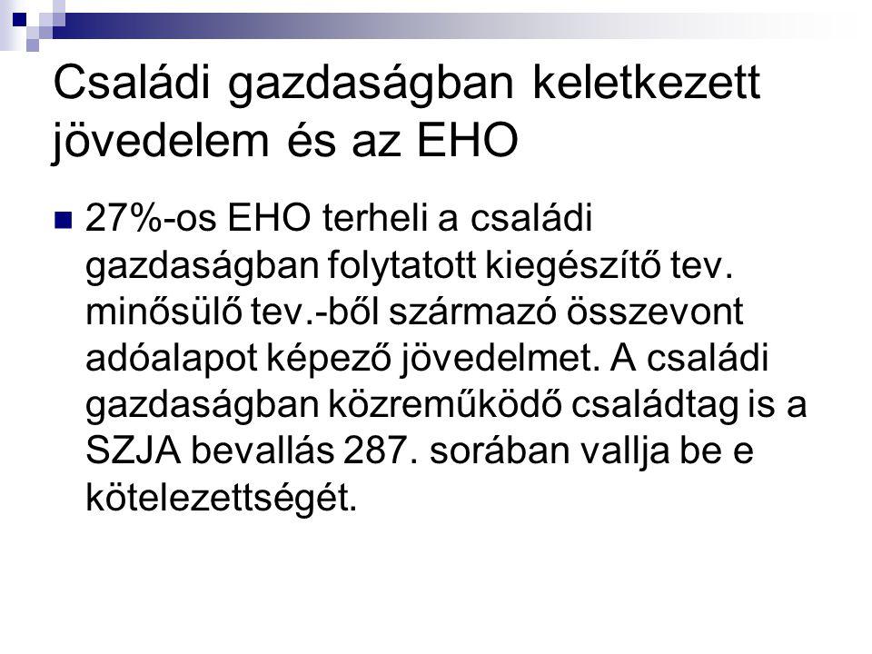 Családi gazdaságban keletkezett jövedelem és az EHO