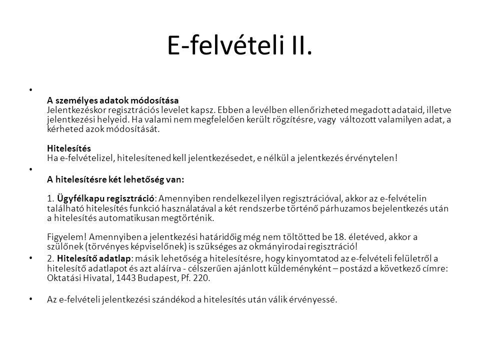 E-felvételi II.