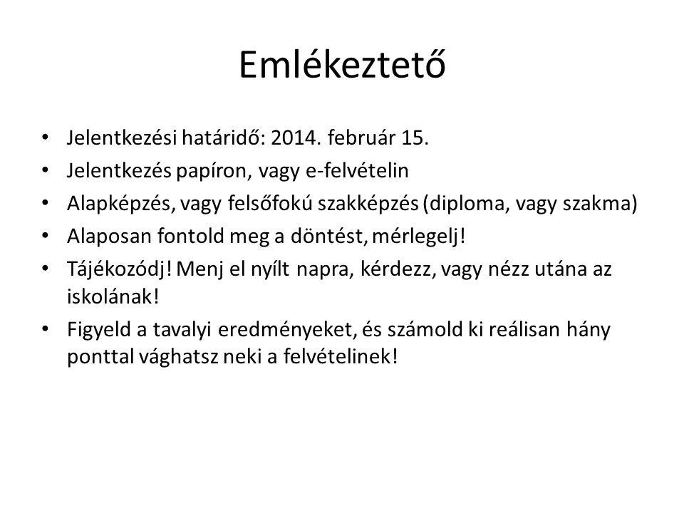 Emlékeztető Jelentkezési határidő: 2014. február 15.