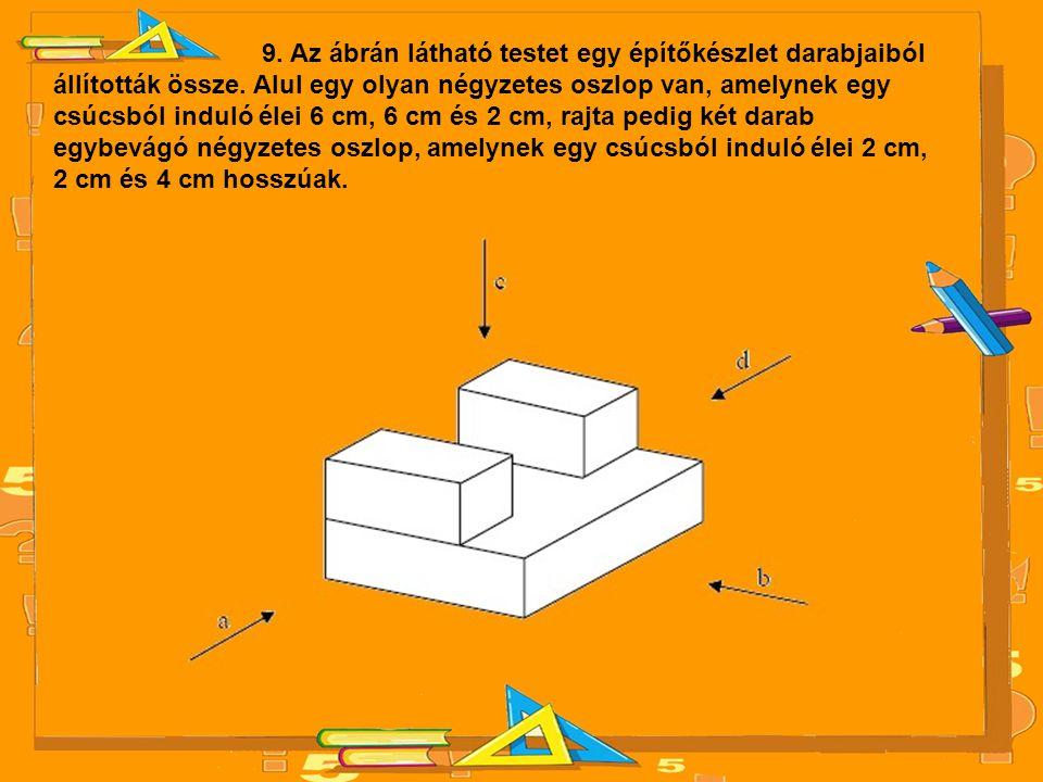 9. Az ábrán látható testet egy építőkészlet darabjaiból