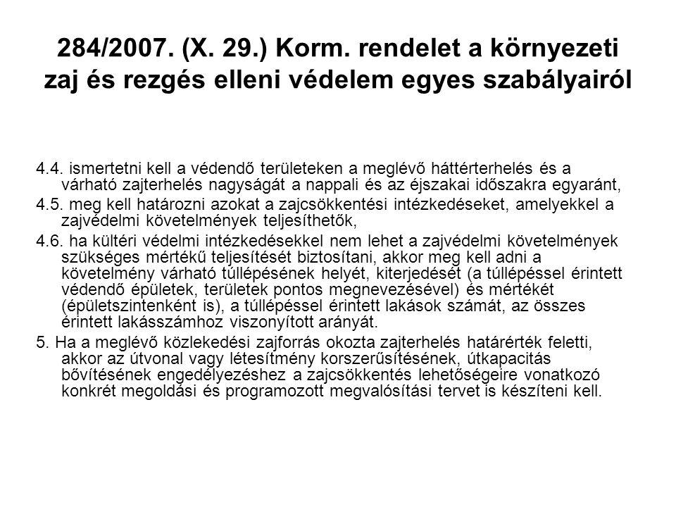 284/2007. (X. 29.) Korm. rendelet a környezeti zaj és rezgés elleni védelem egyes szabályairól
