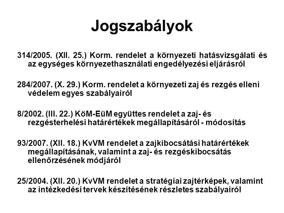 Jogszabályok 314/2005. (XII. 25.) Korm. rendelet a környezeti hatásvizsgálati és az egységes környezethasználati engedélyezési eljárásról.