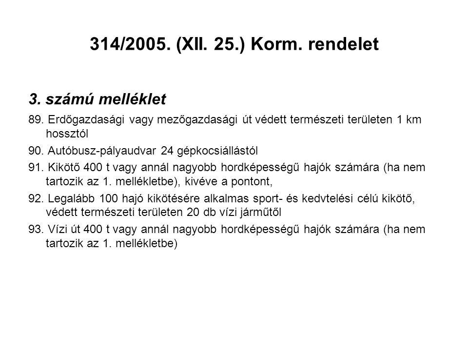 314/2005. (XII. 25.) Korm. rendelet 3. számú melléklet