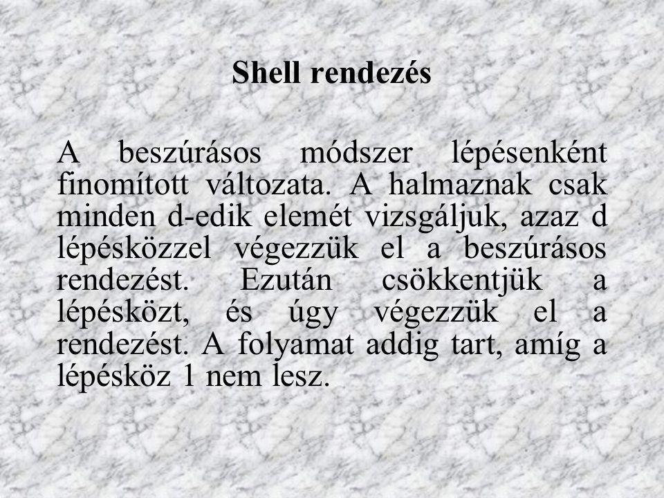 Shell rendezés