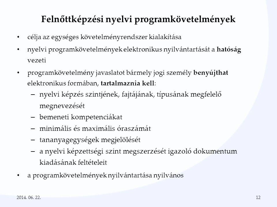 Felnőttképzési nyelvi programkövetelmények