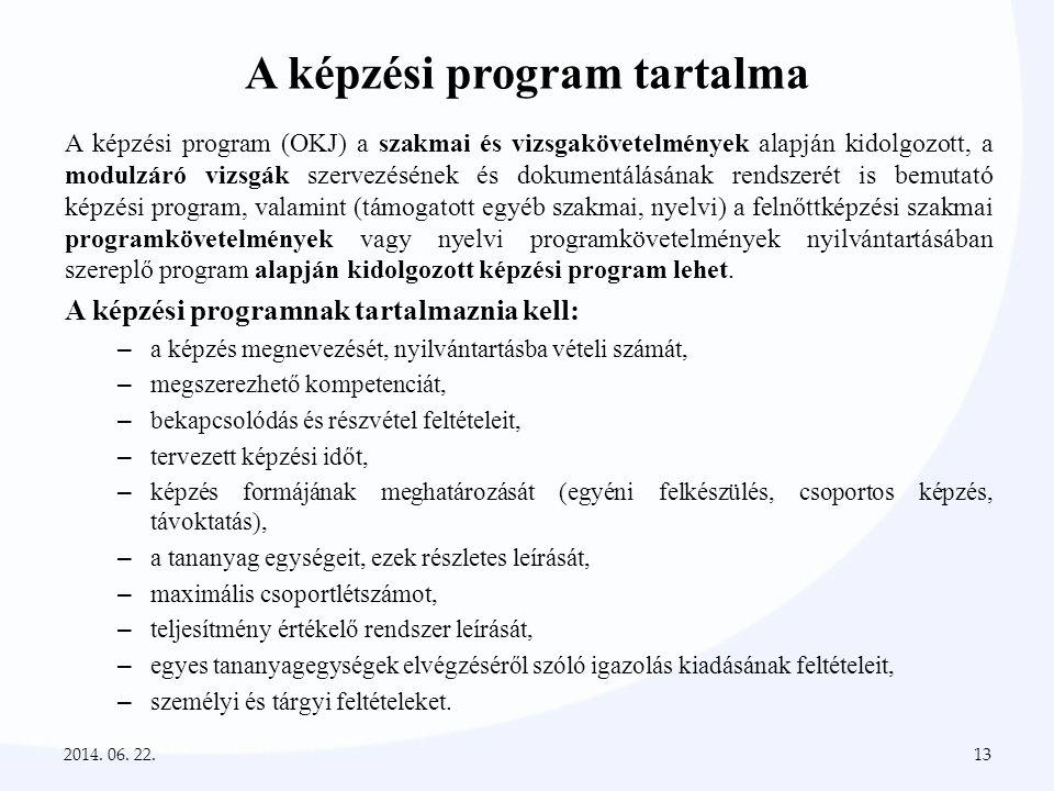 A képzési program tartalma