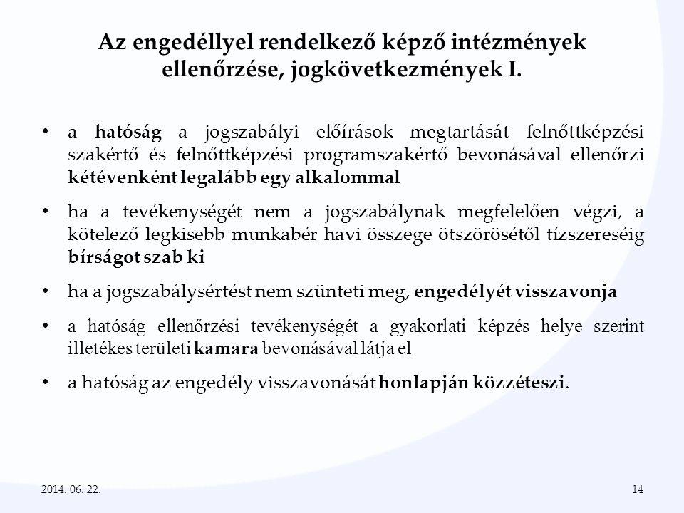 Az engedéllyel rendelkező képző intézmények ellenőrzése, jogkövetkezmények I.