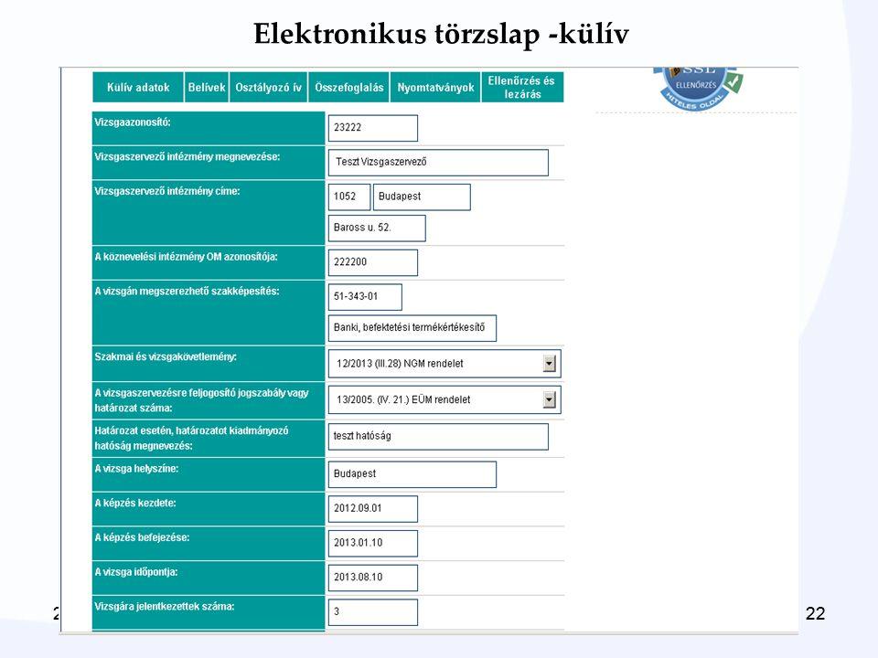 Elektronikus törzslap -külív