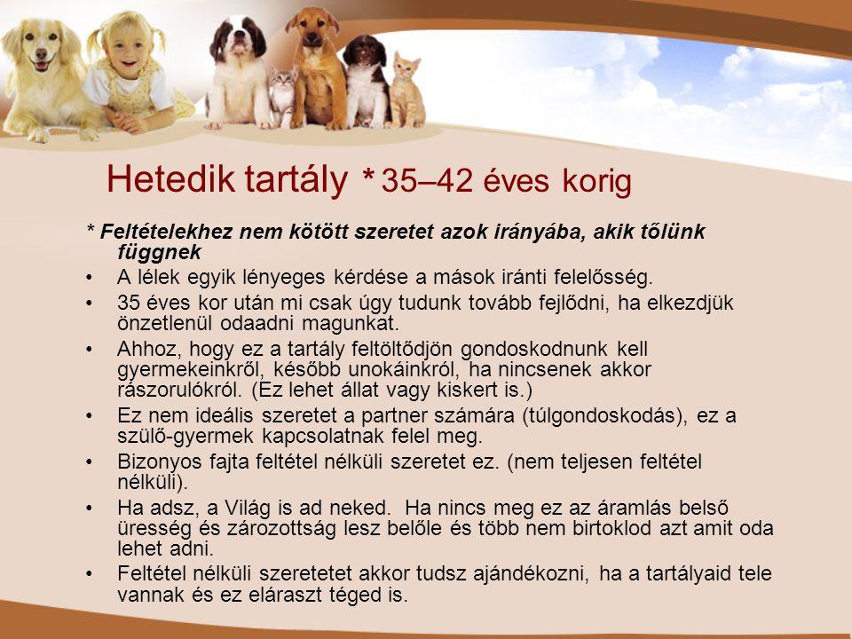 Hetedik tartály * 35–42 éves korig