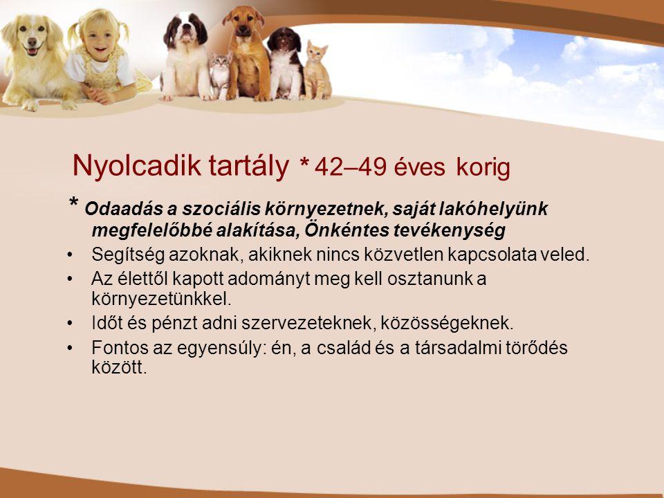 Nyolcadik tartály * 42–49 éves korig