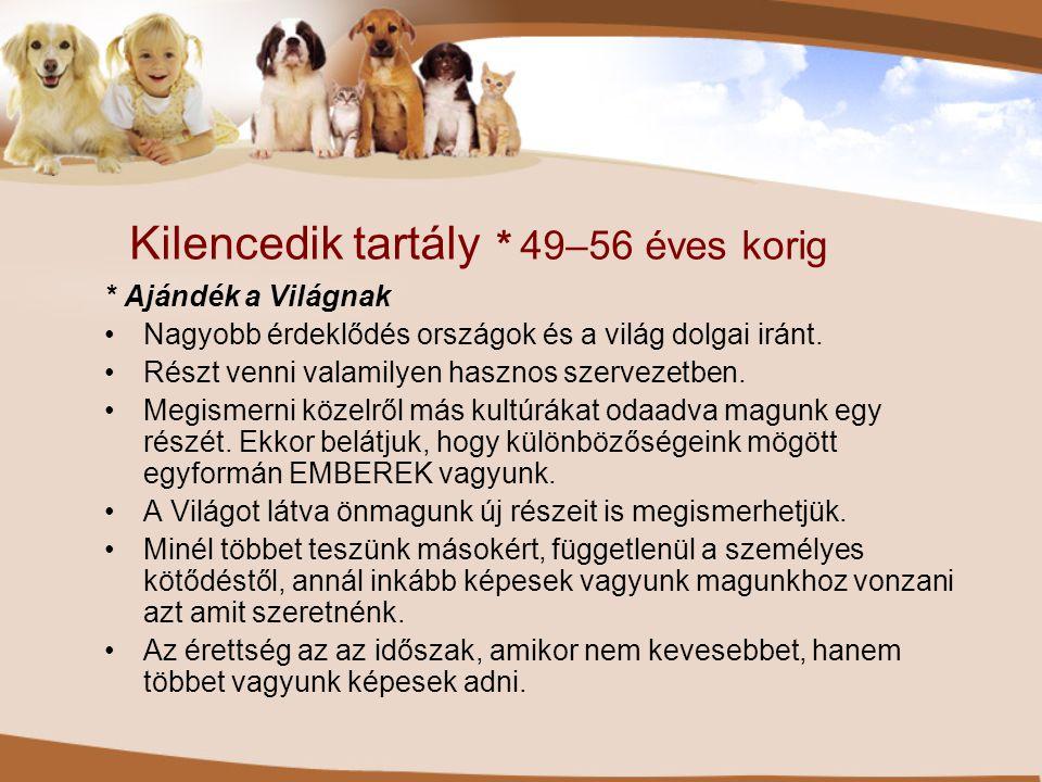 Kilencedik tartály * 49–56 éves korig