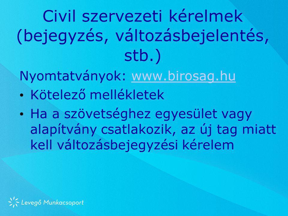 Civil szervezeti kérelmek (bejegyzés, változásbejelentés, stb.)