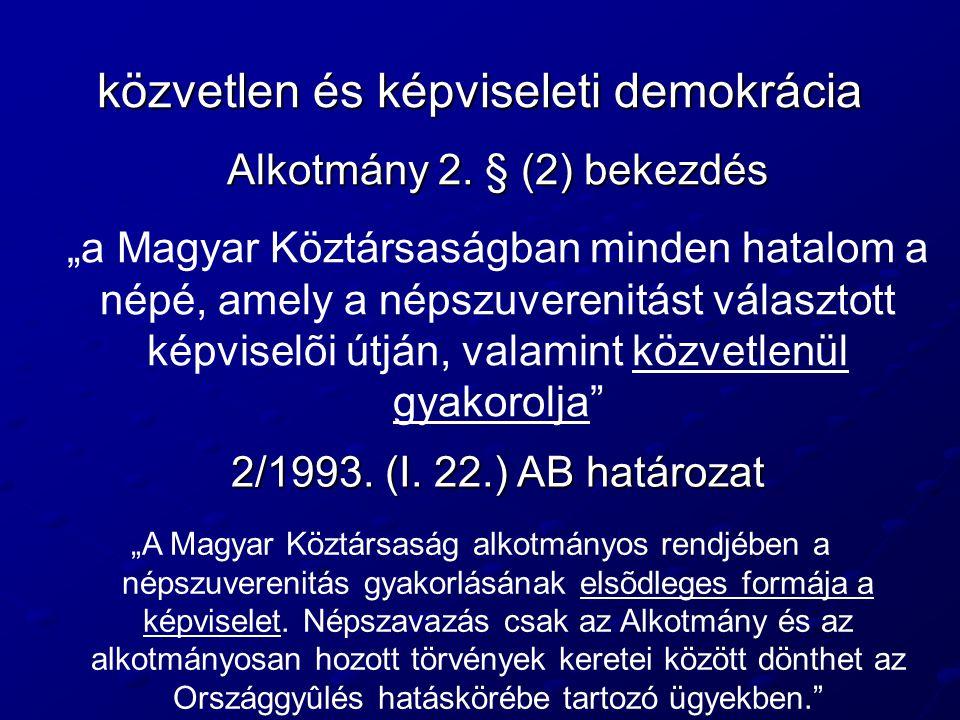 közvetlen és képviseleti demokrácia
