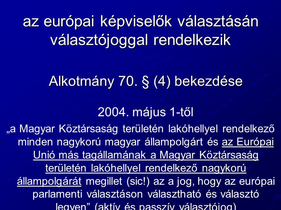 az európai képviselők választásán választójoggal rendelkezik