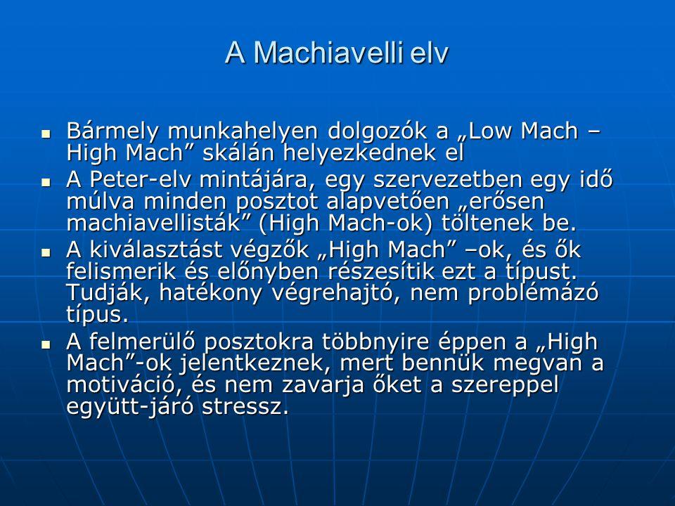 """A Machiavelli elv Bármely munkahelyen dolgozók a """"Low Mach – High Mach skálán helyezkednek el."""
