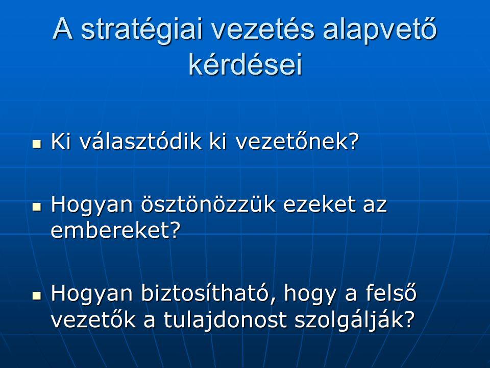 A stratégiai vezetés alapvető kérdései