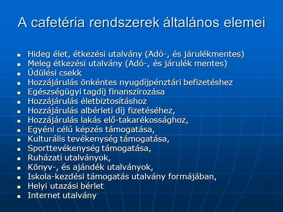 A cafetéria rendszerek általános elemei