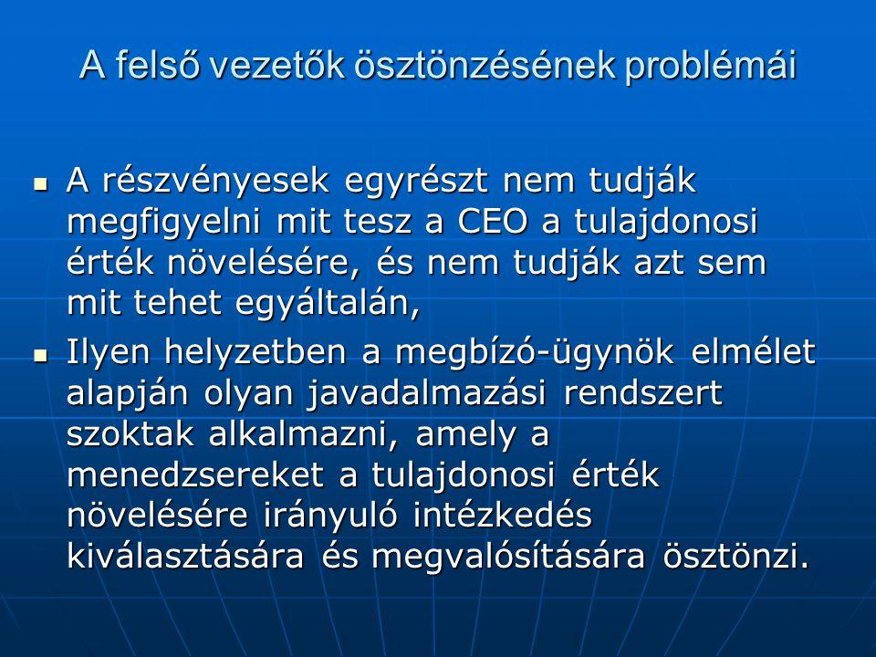 A felső vezetők ösztönzésének problémái