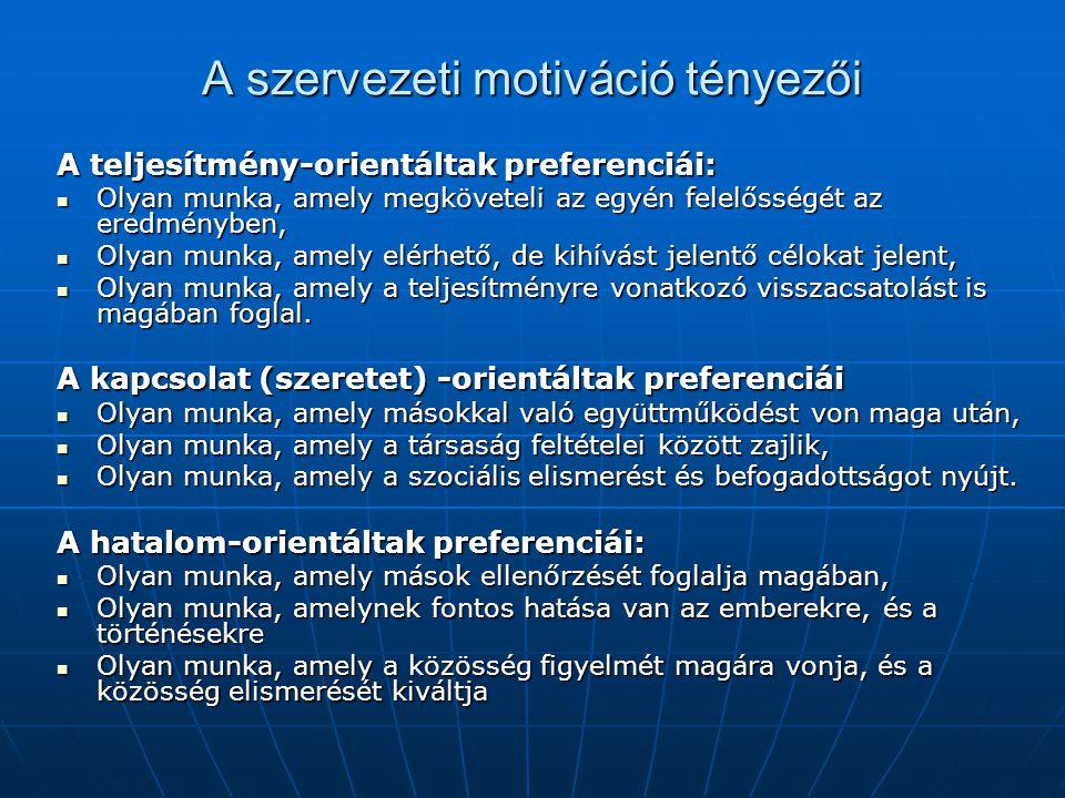 A szervezeti motiváció tényezői