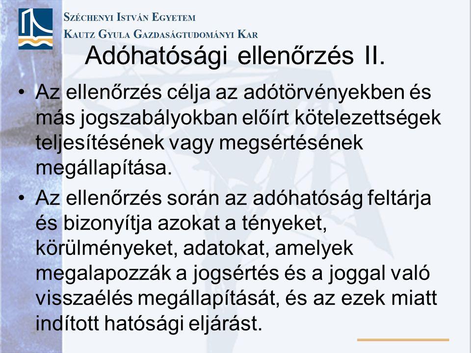 Adóhatósági ellenőrzés II.