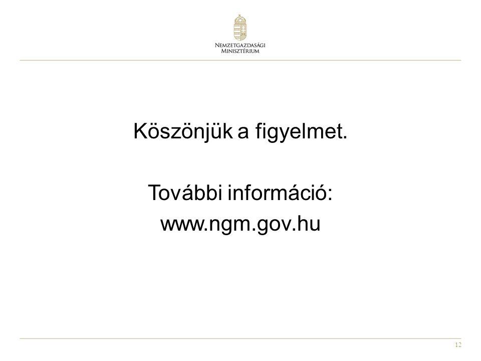 Köszönjük a figyelmet. További információ: www.ngm.gov.hu