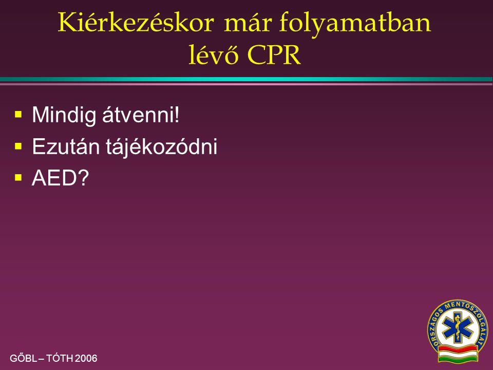 Kiérkezéskor már folyamatban lévő CPR