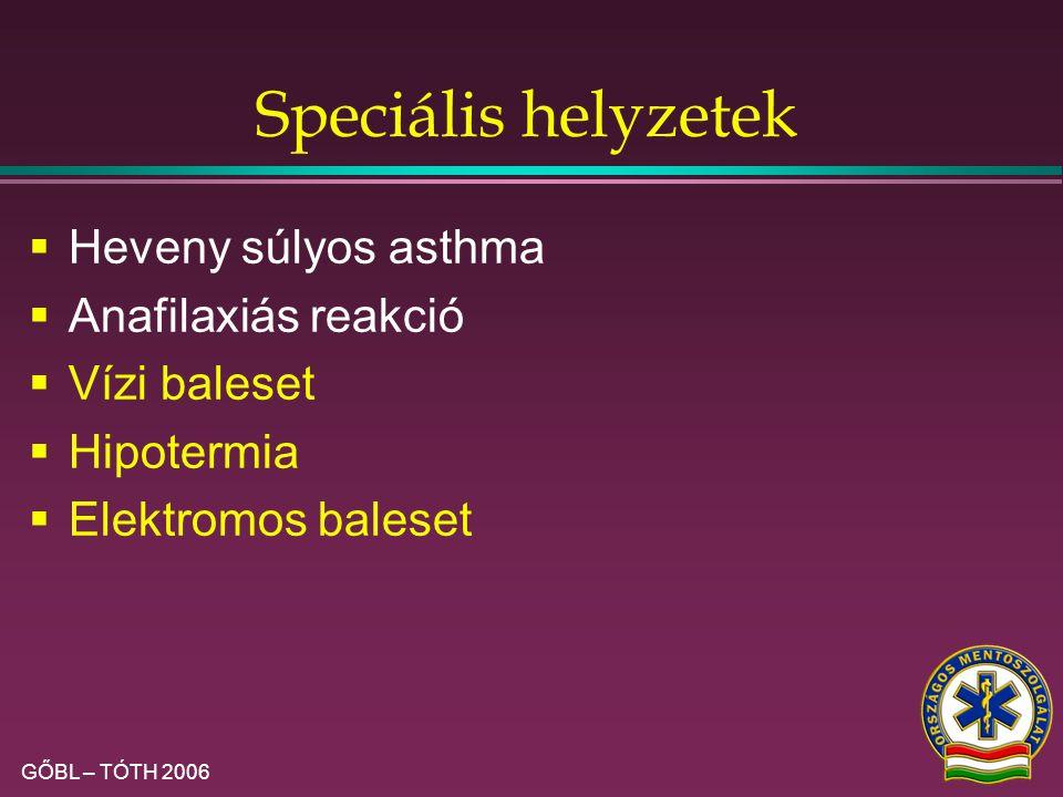 Speciális helyzetek Heveny súlyos asthma Anafilaxiás reakció