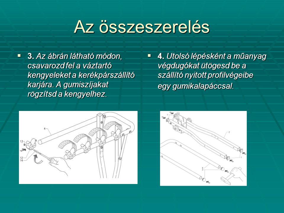 Az összeszerelés 3. Az ábrán látható módon, csavarozd fel a váztartó kengyeleket a kerékpárszállító karjára. A gumiszíjakat rögzítsd a kengyelhez.