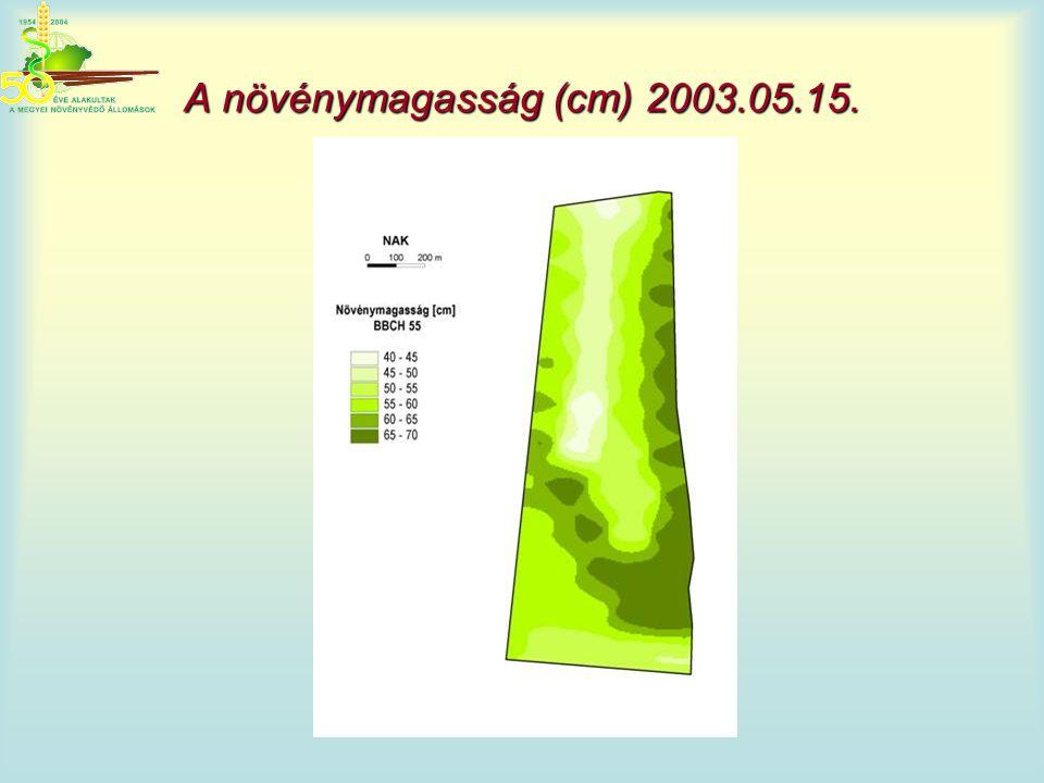 A növénymagasság (cm) 2003.05.15.