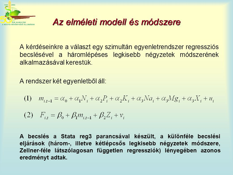 Az elméleti modell és módszere