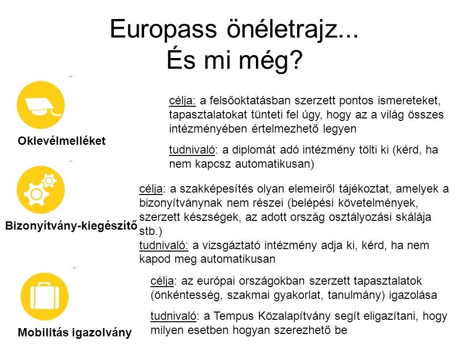 Europass önéletrajz... És mi még