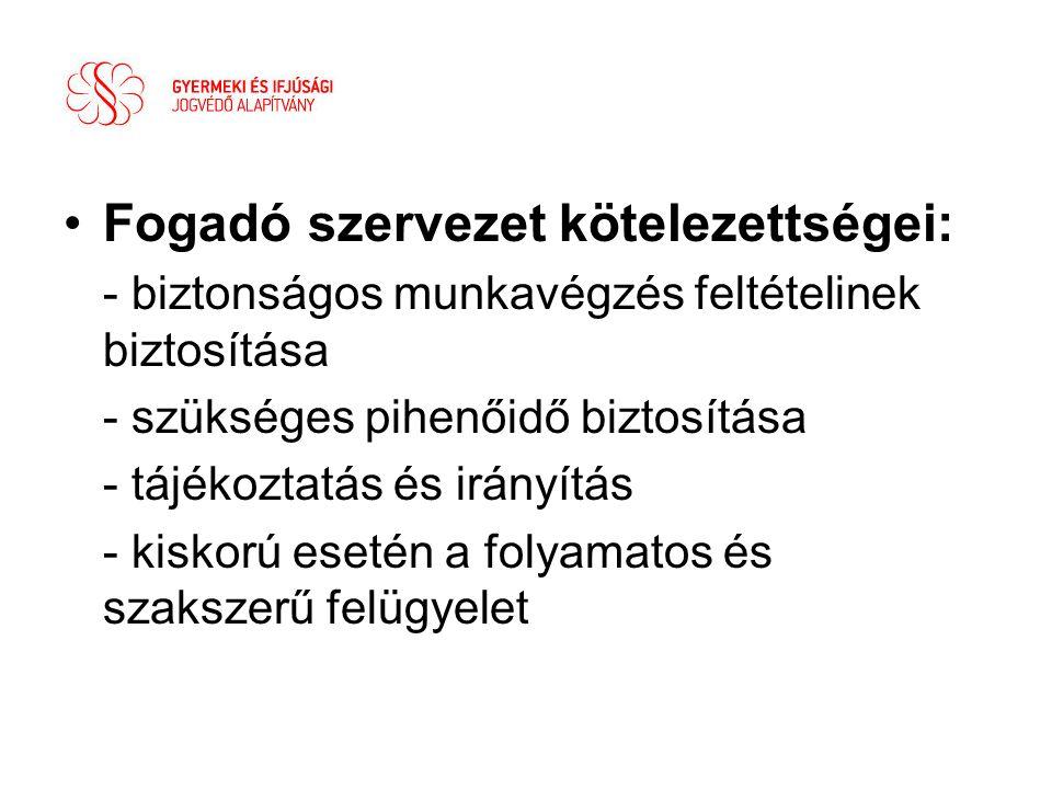 Fogadó szervezet kötelezettségei: