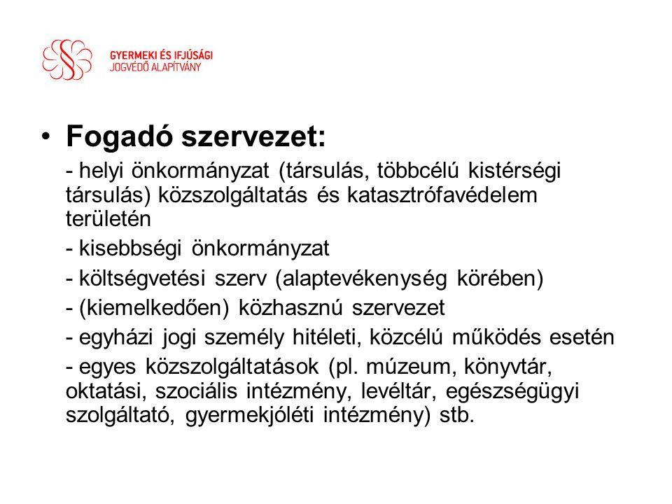 Fogadó szervezet: - helyi önkormányzat (társulás, többcélú kistérségi társulás) közszolgáltatás és katasztrófavédelem területén.
