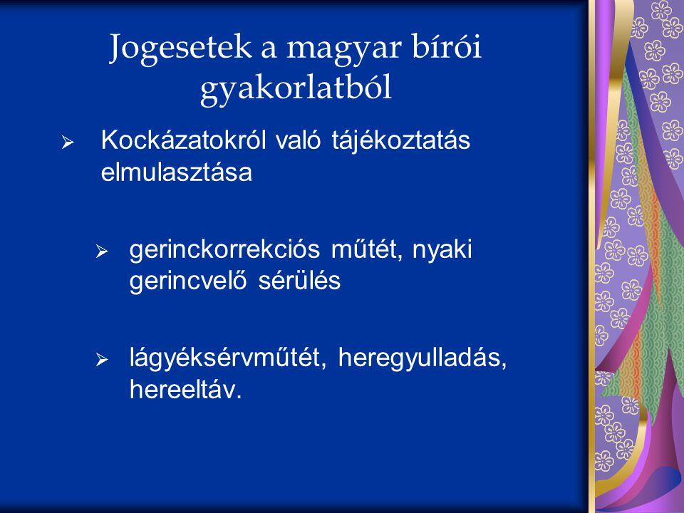 Jogesetek a magyar bírói gyakorlatból