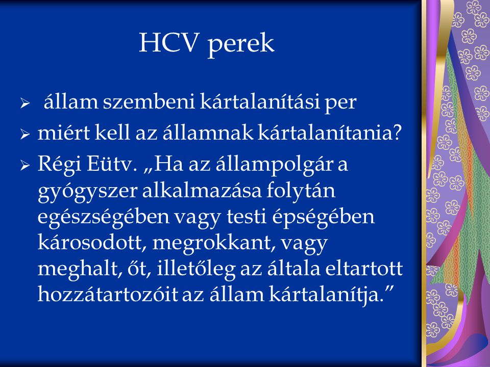 HCV perek állam szembeni kártalanítási per