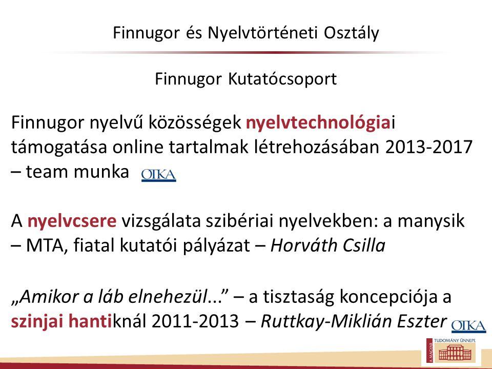 Finnugor és Nyelvtörténeti Osztály