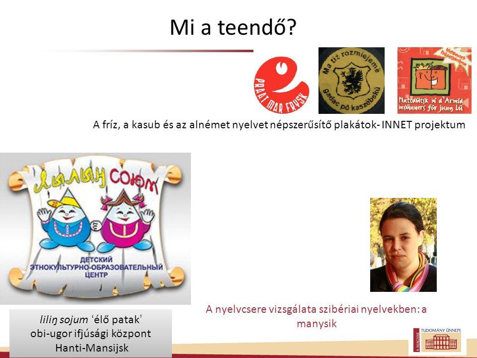 Mi a teendő A fríz, a kasub és az alnémet nyelvet népszerűsítő plakátok- INNET projektum. A nyelvcsere vizsgálata szibériai nyelvekben: a manysik.