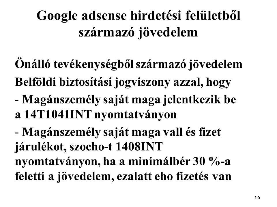 Google adsense hirdetési felületből származó jövedelem