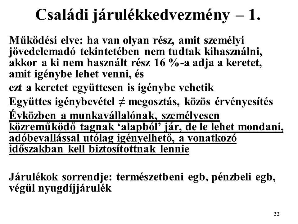 Családi járulékkedvezmény – 1.